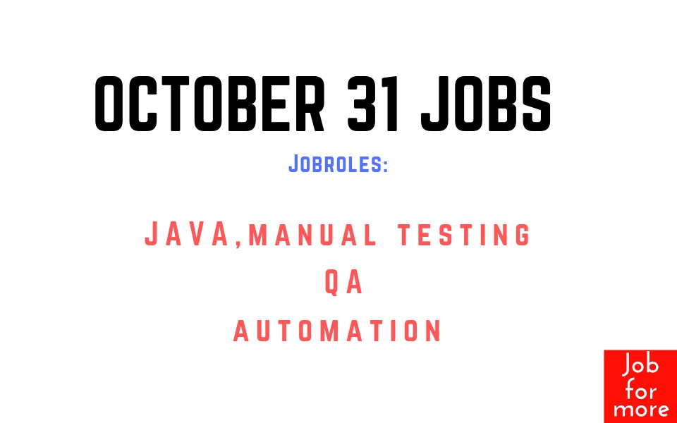 Software Testing Jobs October