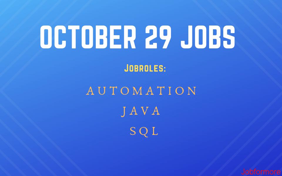 Jobformore ~ Software Testing Jobs