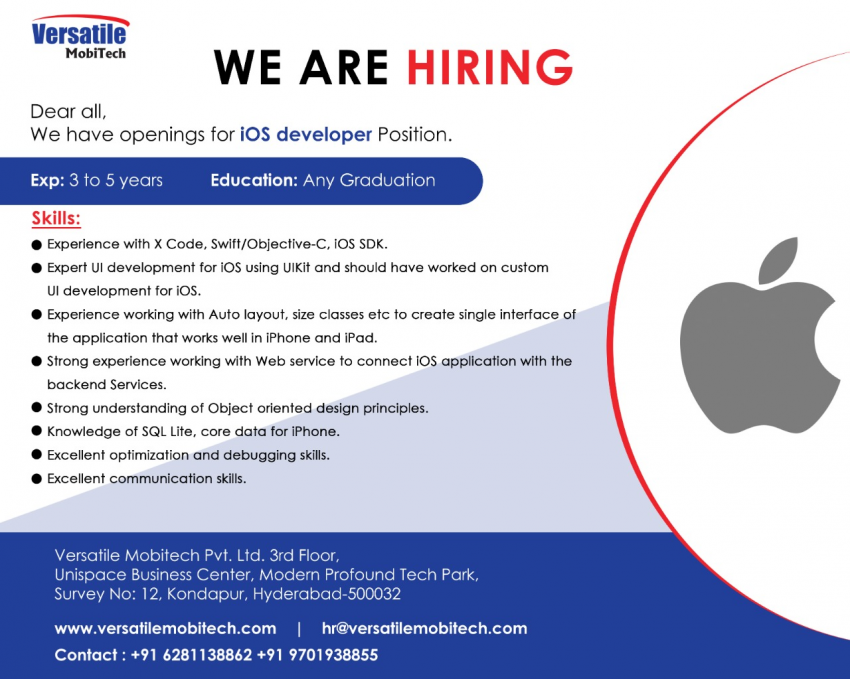 Versatile Mobitech Hiring for iOS developers